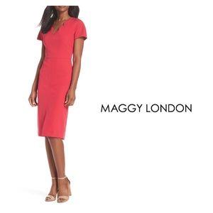 Maggy London Scallop Neck Sheath Dress Pink Sz 4